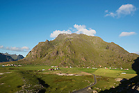 Village of Utakleiv and Himmeltindan mountain peak, Vestvagoya, Lofoten Islands, Norway