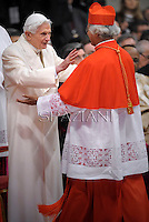 Cardinal Leopoldo Jose Brenes Solorzano of Nicaragua  is congratulated by Pope emeritus Benedict XVI  after he was appointed cardinal by the Pope at the consistory in the St. Peter's Basilica at the Vatican on February 22, 2014.