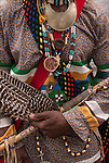 Close up of Lonnie Harrington, Seminole Native and African American dancer in traditional regalia.<br />
