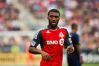 Ashtone Morgan (5) of Toronto FC. The Philadelphia Union defeated Toronto FC 3-0 during a Major League Soccer (MLS) match at PPL Park in Chester, PA, on July 8, 2012.