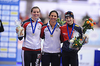 SCHAATSEN: ERFURT: Gunda Niemann Stirnemann Eishalle, 21-03-2015, ISU World Cup Final 2014/2015, Podium 1500 Ladies, Heather Richardson (USA), Brittany Bowe (USA), Martina Sábliková (CZE), ©foto Martin de Jong