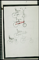 BNPS.co.uk (01202 558833)<br /> Pic: TomKaren/BNPS<br /> <br /> ***Must Use Full Byline***<br /> <br /> The original designs.<br /> <br /> The original drawing designs for the Raleigh Chopper have come to light 45 years after the first ever iconic bicycle was made.<br /> <br /> The idea for the much-loved 1970s bike began as a quick doodle by inventor Tom Karen.<br /> <br /> The first scribbled sketches were just basic outlines but they clearly show its most famous features - large U-shaped handlebars and rear wheel and long leather seats.<br /> <br /> The rough sketches evolved into formal designs and Raleigh produced the first Mark I Choppers in 1969.<br /> <br /> They soon became the must-have children's item across Britain and more than 1.5 million of them were made until production ceased in 1979.<br /> <br /> The two pages of original drawings were retained by Mr Karen, now aged 87, and he took<br /> them with him when in 1999 he retired from Ogle Design, the consultancy firm used by Raleigh.<br /> <br /> Since then his sketch books have been left gathering dust in the garage of the grandfather's home in Cambridge. He has now dug them out after rediscovering them.<br /> <br /> Mr Karen said: &quot;The sketch books were just for me to do some rough doodles for me to pass on my ideas to the designers to work on and show to the client.