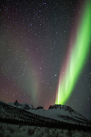 Northern Lights and over mount Snowden of the Brooks Range, Arctic, Alaska.