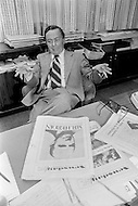 February 1974 --- William Attwood (1920-1989), publisher of Newsday (Long Island, New York), is the author of the famous prize-winning article The Heroin Trail, published in May 1972. Attwood was born in Paris and was the US Ambassador at UNESCO. He worked for Newsday from 1970-1978. --- Image by © JP Laffont