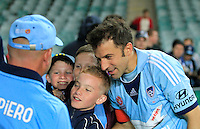 Sydney FC Alessandro Del Piero greets fans after his A-League match against Perth Glory in Sydney, April 13, 2014. Photo by Daniel Munoz/VIEWPRESS EDITORIAL USE ONLY
