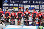 Trek-Segafredo team presented to the crowd before the start of the 60th edition of the Record Bank E3 Harelbeke 2017, Flanders, Belgium. 24th March 2017.<br /> Picture: Eoin Clarke | Cyclefile<br /> <br /> <br /> All photos usage must carry mandatory copyright credit (&copy; Cyclefile | Eoin Clarke)