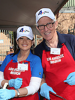 Los Angeles, CA - NOVEMBER 23: Colleen Williams, Fritz Coleman, At Los Angeles Mission Thanksgiving Meal For The Homeless At Los Angeles Mission, California on November 23, 2016. Credit: Faye Sadou/MediaPunch