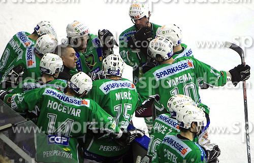 Coach of Olimpija Randy Edmonds with his team at 39th Round of EBEL League ice hockey match between HDD Tilia Olimpija and HK Acroni Jesenice, on December 30, 2008, in Arena Tivoli, Ljubljana, Slovenia. Tilia Olimpija won 4:3. (Photo by Vid Ponikvar / SportIda).