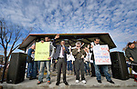 A Seventh Day Adventist pastor leads people in prayer at a February 14 2015 rally in Pasco, Washington, that demanded justice for the killing of Antonio Zambrano Montes by three Pasco police officers on February 10.