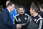 St Johnstone v Aberdeen...23.08.14  SPFL<br /> Tommy Wright shakes hands with Tony Docherty and Derek McInnes<br /> Picture by Graeme Hart.<br /> Copyright Perthshire Picture Agency<br /> Tel: 01738 623350  Mobile: 07990 594431
