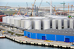 Storage tanks and loading docks are seen at the port of Rotterdam in The Netherlands, on Tuesday, Oct. 27, 2009. The Port of Rotterdam's throughput fell 12 percent in the first nine months and is expected to decline between 10 and 11 percent this year, according to port director Hans Smits. (Photo © Jock Fistick)
