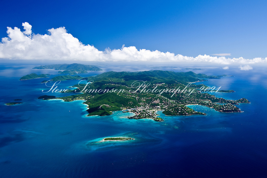 Aerial view of St John Virgin Islands