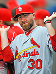 7 March 2012: St. Louis Cardinals pitcher Jason Motte in the dugout during a game against the Washington Nationals at Space Coast Stadium in Viera, Florida. The teams battled to a 3-3 tie in Grapefruit League Spring Training action. Mandatory Credit: Ed Wolfstein Photo