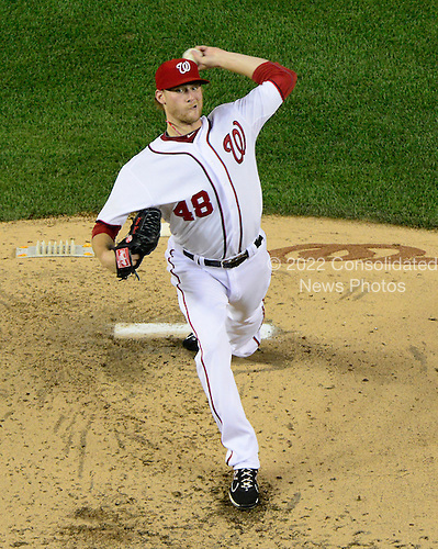 Washington Nationals pitcher Ross Detwiler (48) works in the fifth inning against the New York Mets at Nationals Park in Washington, D.C. on Friday, August 17, 2012..Credit: Ron Sachs / CNP.(RESTRICTION: NO New York or New Jersey Newspapers or newspapers within a 75 mile radius of New York City)