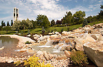New Waterfall and waterway by the Carillon Bell Tower..July 16, 2004.Photography by Mark A. Philbrick