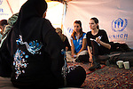 Jordan: UNHCR Special Envoy Angelina Jolie meets with refugees at the Za'atri refugee camp in Jordan...The purpose of the joint trip by Angelina Jolie and UN Refugee Chief, António Guterres is to demonstrate their solidarity with Syrian refugees  and pay tribute to the Jordanian government and people for their strong commitment to refugee protection...Their visit comes on the day that the number of Syrian refugees registered or awaiting registration in the region topped 250,000....©UNHCR/JTanner/Sept 2012