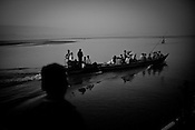 Boats known as bhotbhottis ferry passengers around in Dibrugarh, North east state of Assam in India..Photo: Sanjit Das