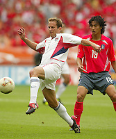 Eddie Lewis brings the ball down. The USA tied South Korea, 1-1, during the FIFA World Cup 2002 in Daegu, Korea.