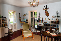 US, Florida, Key West. Interior, Ernest Hemingway Home. The Library.