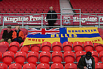 Doncaster Rovers Belles 1 Chelsea Ladies 4, 20/03/2016. Keepmoat Stadium, Womens FA Cup. Donacster fans with flag. Photo by Paul Thompson.