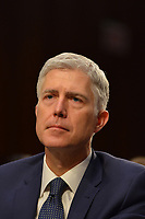 Washington DC, March 22, 2017, USA:  Judge Neil Gorsuch testifies at his confirmation hearing to become the next Supreme Court Justice for the third day.  He was testifying in front of the Senate Judiciary Committee on Capitol Hill in Washington DC.  Photo by Patsy Lynch/MediaPunch