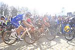 Greg Van Avermaet (BEL) BMC Racing and Tom Boonen (BEL) Quick-Step Floors tackle the famous cobbled climb of Kemmelberg during Gent-Wevelgem in Flanders Fields 2017 running 249km from Denieze to Wevelgem, Flanders, Belgium. 26th March 2017.<br /> Picture: Eoin Clarke | Cyclefile<br /> <br /> <br /> All photos usage must carry mandatory copyright credit (&copy; Cyclefile | Eoin Clarke)