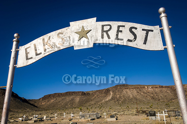 Historic early 1900s cemetery, Goldfield, Nevada..Elk's Rest gateway.
