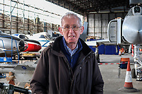 Ernie Cromie, 30+ years chairman, Ulster Aviation Society, based as Maze Long Kesh, near Lisburn, N Ireland, UK, 15th April 2017<br />