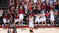 Stanford, CA -- November 17, 2014:  Stanford Cardinal vs. Connecticut Huskies at Maples Pavilion.  The Cardinal defeated the Huskies in overtime, 88-86. Celebration of Amber Orrange's tying three-pointer.