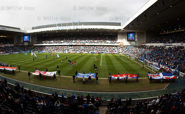 Pre match banner display at Ibrox