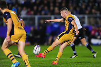 Billy Searle of Bristol Rugby puts boot to ball. European Rugby Challenge Cup match, between Bath Rugby and Bristol Rugby on October 20, 2016 at the Recreation Ground in Bath, England. Photo by: Patrick Khachfe / Onside Images