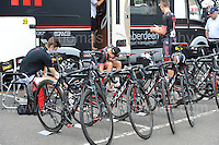 The NFTO cycling team prepare for the race during the Abergavenny Festival of Cycling &quot;Grand Prix of Wales&quot; race on Sunday 17th 2016<br /> <br /> <br /> Jeff Thomas Photography -  www.jaypics.photoshelter.com - <br /> e-mail swansea1001@hotmail.co.uk -<br /> Mob: 07837 386244 -