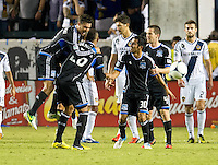 CARSON, CA - November 4, 2012: San Jose Quakes celebrate Victor Bernardez's game winning goal during the LA Galaxy vs the San Jose Earthquakes at the Home Depot Center in Carson, California. Final score LA Galaxy 0, San Jose Earthquakes 1.