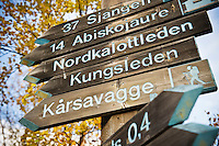 Trail marker at northern end of Kungsleden trail, Abisko, Sweden