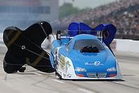 Apr. 28, 2013; Baytown, TX, USA: NHRA funny car driver Terry Haddock during the Spring Nationals at Royal Purple Raceway. Mandatory Credit: Mark J. Rebilas-