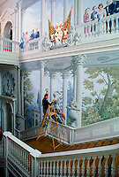 Artist Graham Rust paints mural in South Staircase Hall at Ragley Hall, stately home of the Marques of Hertford, Alcester, England, UK