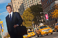 Lafayette College Alum and Fordham Law School professor Matt Parrott stands on Broadway in New York City just outide Fordham Law school and next to Lincoln Center where he worked as an intern.