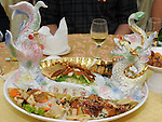 Taiwanese Wedding -- Food plate on the couples desk.