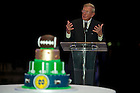 Jan 6, 2013; Former Notre Dame footballl coach Lou Holtz speaks during the dinner at Villa Vizcaya where he was honored with a birthday cake. Photo by Barbara Johnston/University of Notre Dame..