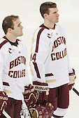 Cam Spiro (BC - 15), Brooks Dyroff (BC - 14) - The Boston College Eagles defeated the visiting Dartmouth College Big Green 6-3 (EN) on Saturday, November 24, 2012, at Kelley Rink in Conte Forum in Chestnut Hill, Massachusetts.