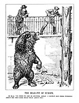 """The Bear-Pit of Europe. M. Blum. """"No need to get so excited, Adolf. I expect he's more worried about his own sore head than about you."""" (the Russian bear rubs his head angrily and tears apart the 'Anti-Stalin Plot' as Hitler looks down from above the pit frightened)"""