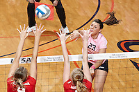 SAN ANTONIO, TX - OCTOBER 4, 2012: The Louisiana Tech University Lady Techsters versus The University of Texas at San Antonio Roadrunners Volleyball at the UTSA Convocation Center. (Photo by Jeff Huehn)