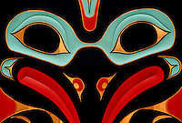 native painting designed by Charles Brown on Clan house at Totem Bight State Park Katecikan Alaska.