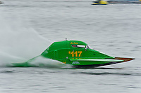 13-14 June, 2009, APBA Inboards, Walled Lake, Novi, MI. USA.Eric Pomber, S-117, 2.5 Litre Stock hydroplane.©F. Peirce Williams 2009 USA.F.Peirce Williams.photography.ref: RAW (.NEF) File Available