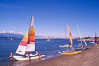 """Vancouver, BC, British Columbia, Canada - Sailing at Jericho Beach,  English Bay and """"North Shore"""" Mountains (Coast Mountains)"""