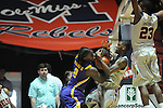 "Ole Miss' Terrance Henry (1) and LSU's Johnny O'Bryant III (2) go for the ball at the C.M. ""Tad"" Smith Coliseum in Oxford, Miss. on Saturday, February 25, 2012. (AP Photo/Oxford Eagle, Bruce Newman).."