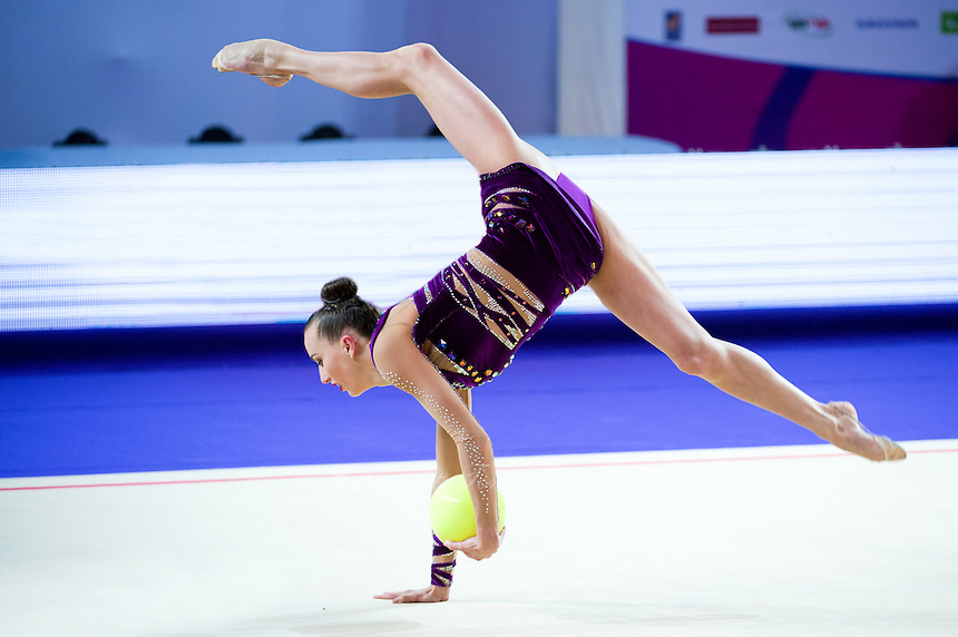 ANNA RIZATDINOVA of Ukraine performs with ball at 2016 European Championships at Holon, Israel on June 18, 2016.