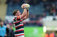 Tom Youngs of Leicester Tigers looks to throw the ball into a lineout. Aviva Premiership match, between Leicester Tigers and Gloucester Rugby on February 11, 2017 at Welford Road in Leicester, England. Photo by: Patrick Khachfe / JMP