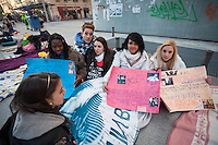 Dana (19), Rodrigo(18), Jessica  (16), Wendy (18) and Sandra (17)  waiting since 3 days for the concert of Justin Bieber at the Palacio de los deportes in Madrid