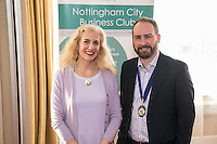 Guest speaker Barbara Cathcart of Nottingham Hospitals Charity with NCBC President James Simmonds